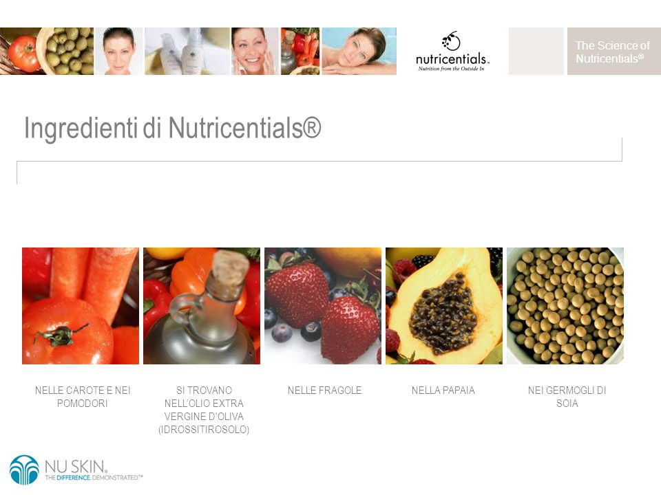 The Science of Nutricentials ® Ingredienti di Nutricentials® SI TROVANO NELL'OLIO EXTRA VERGINE D OLIVA (IDROSSITIROSOLO) NELLE CAROTE E NEI POMODORI NELLE FRAGOLENELLA PAPAIANEI GERMOGLI DI SOIA