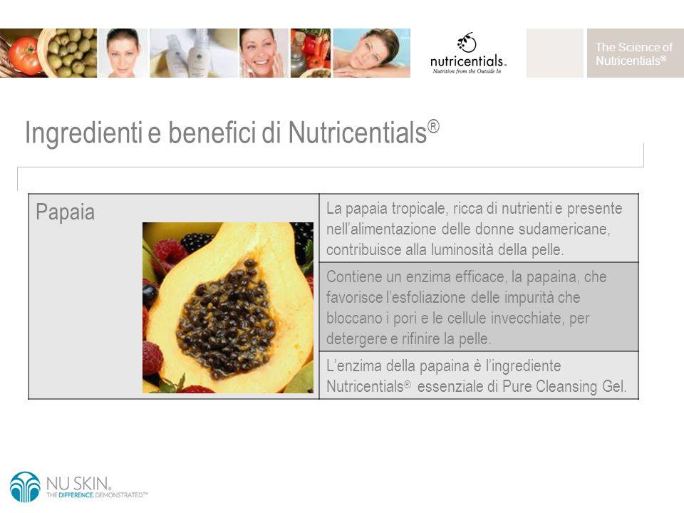 The Science of Nutricentials ® Ingredienti e benefici di Nutricentials ® Papaia La papaia tropicale, ricca di nutrienti e presente nell'alimentazione delle donne sudamericane, contribuisce alla luminosità della pelle.