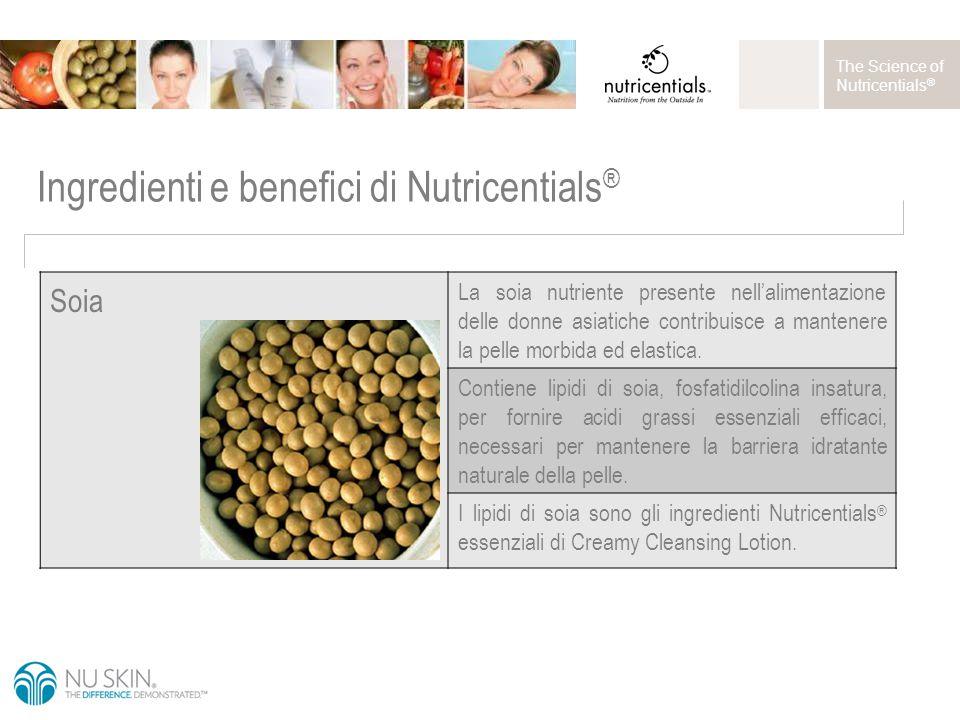 The Science of Nutricentials ® Soia La soia nutriente presente nell'alimentazione delle donne asiatiche contribuisce a mantenere la pelle morbida ed elastica.