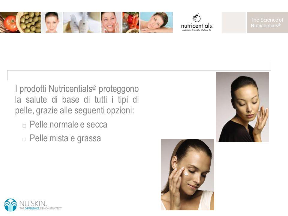 The Science of Nutricentials ® I prodotti Nutricentials ® proteggono la salute di base di tutti i tipi di pelle, grazie alle seguenti opzioni:  Pelle normale e secca  Pelle mista e grassa