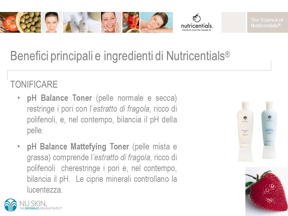 The Science of Nutricentials ® pH Balance Toner (pelle normale e secca) restringe i pori con l' estratto di fragola, ricco di polifenoli, e, nel contempo, bilancia il pH della pelle.