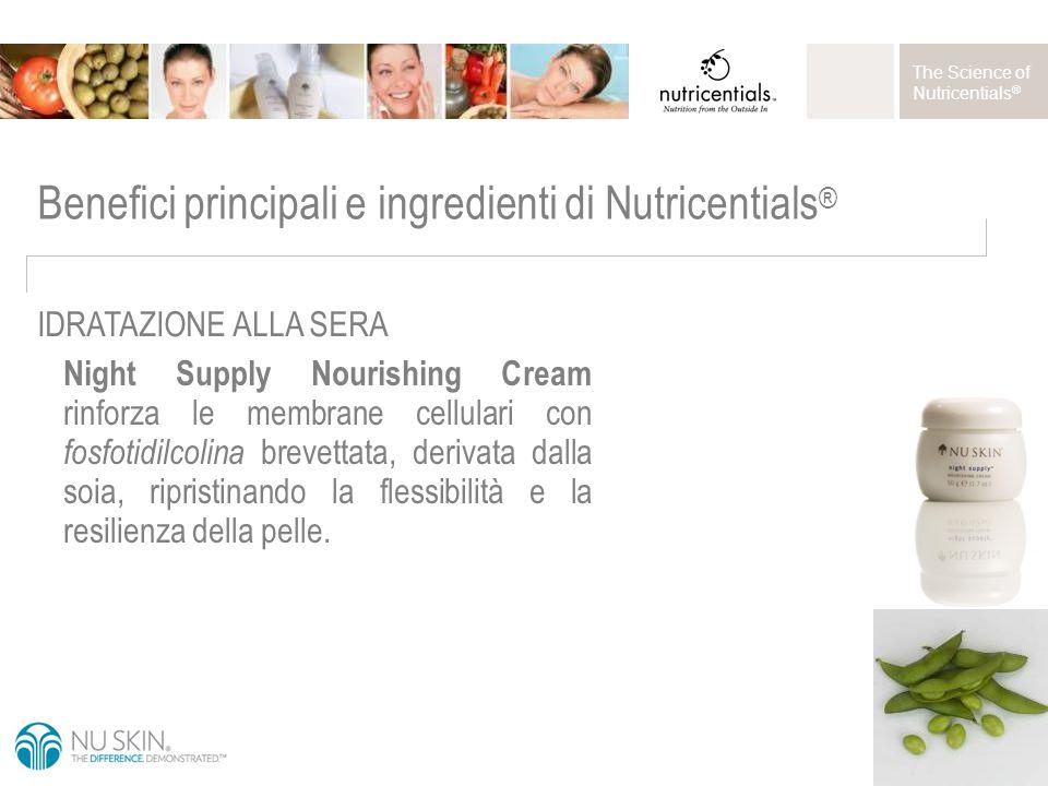 The Science of Nutricentials ® Night Supply Nourishing Cream rinforza le membrane cellulari con fosfotidilcolina brevettata, derivata dalla soia, ripristinando la flessibilità e la resilienza della pelle.