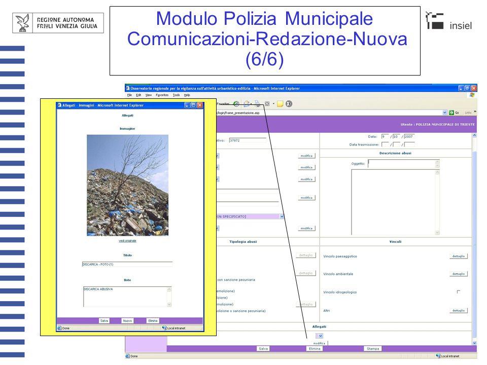 Modulo Polizia Municipale Comunicazioni-Trasmissione Automaticament e vengono proposte tutte le comunicazioni redatte ma non ancora trasmesse