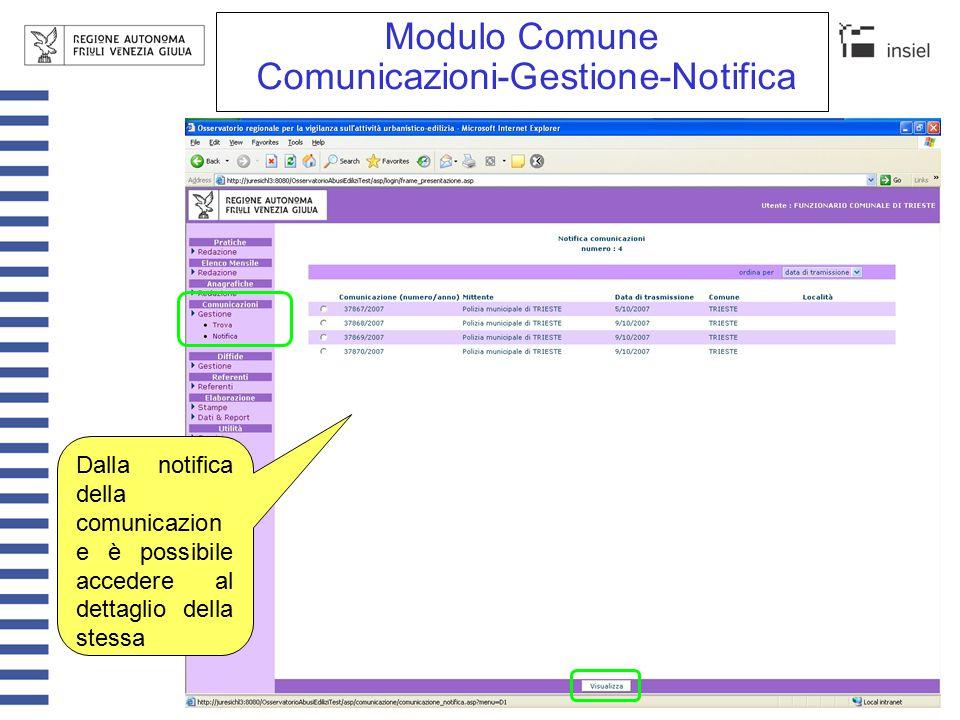 Modulo Comune Comunicazioni-Gestione-Notifica Istruisci pratica Dalla visione di dettaglio è possibile istruire direttamente una pratica