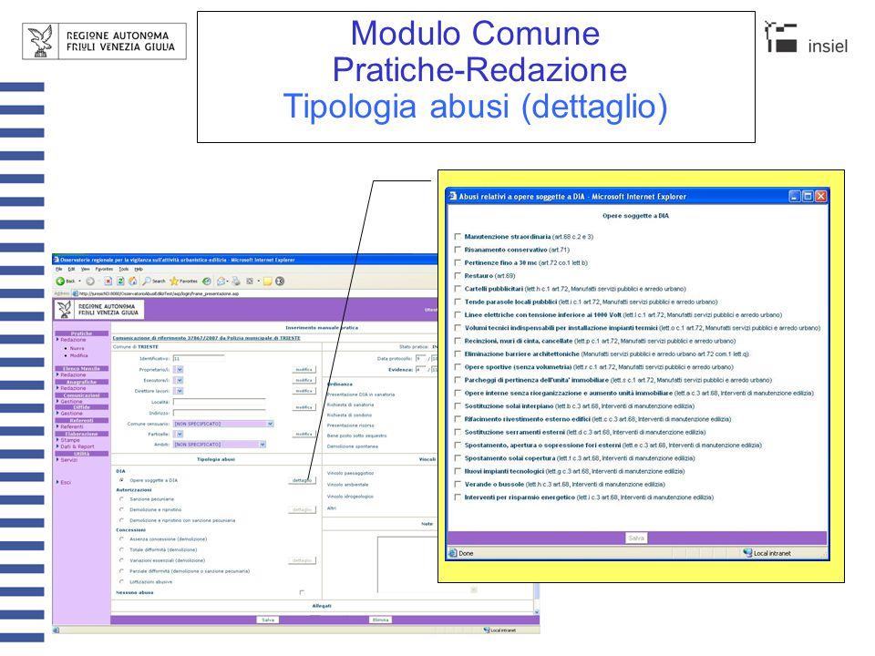 Modulo Comune Pratiche-Redazione Vincoli (dettaglio)(1/2)