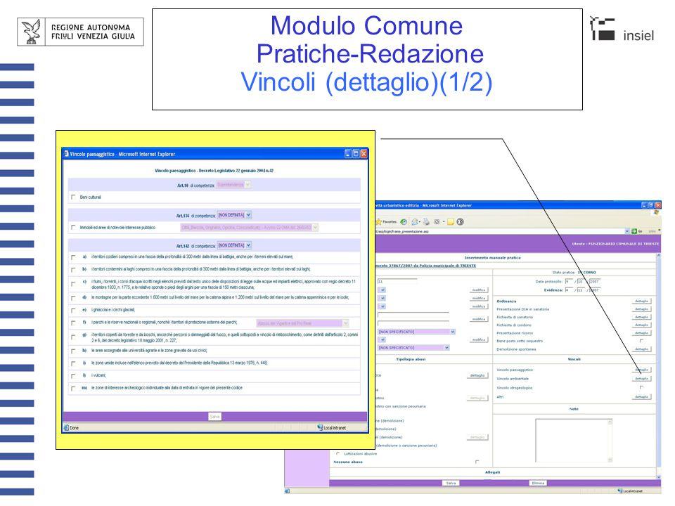 Modulo Comune Pratiche-Redazione Vincoli (dettaglio)(2/2) E' possibile introdurre vincoli personalizzati
