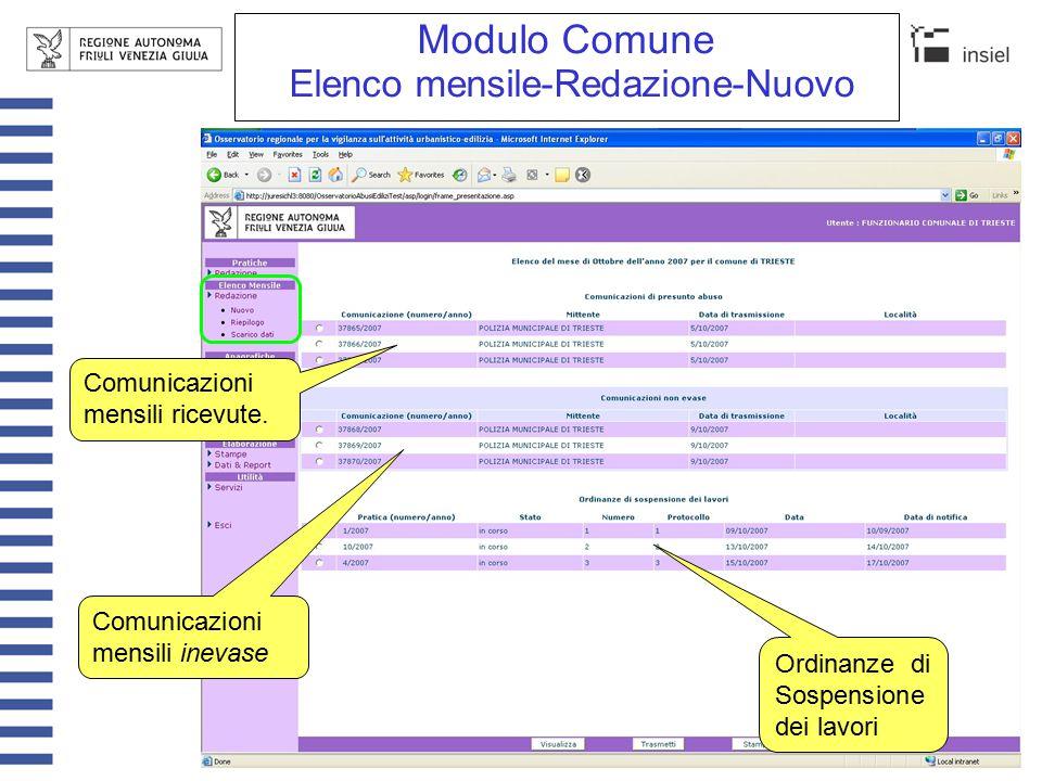 Modulo Comune Elenco mensile-Redazione-Nuovo Stampa Nella stampa dell'elenco non c'è l'evidenza delle comunicazioni inevase.
