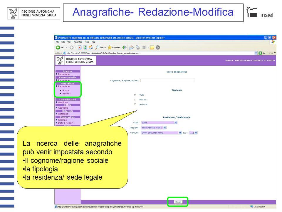 Com./Pratiche-Redazione-Modifica (1/3) E' possibile impostare filtri multipli di ricerca su comunicazioni e pratiche