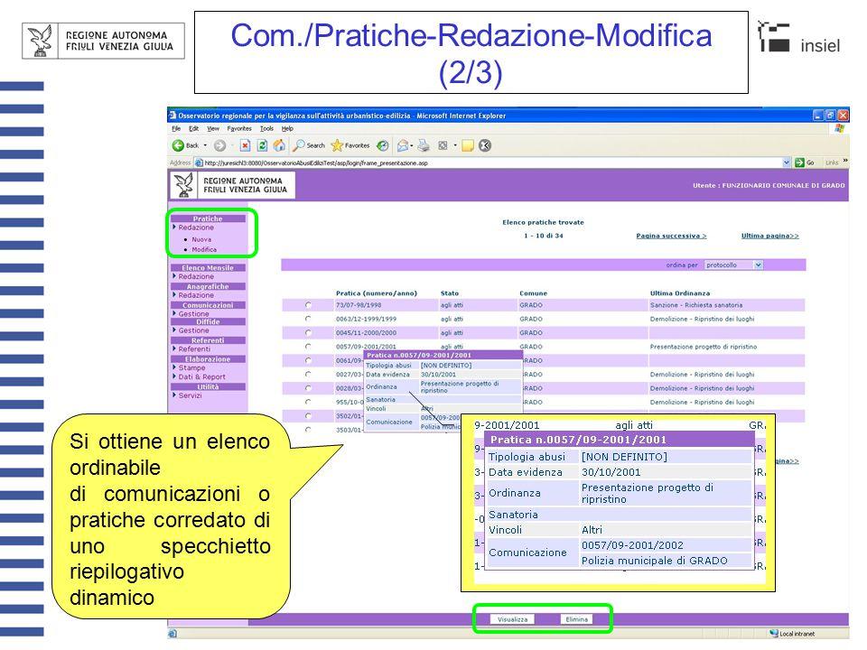 Com./Pratiche-Redazione-Modifica (3/3) E' possibile accedere direttamente a una singola comunicazione o pratica specificando il numero di protocollo e l'anno