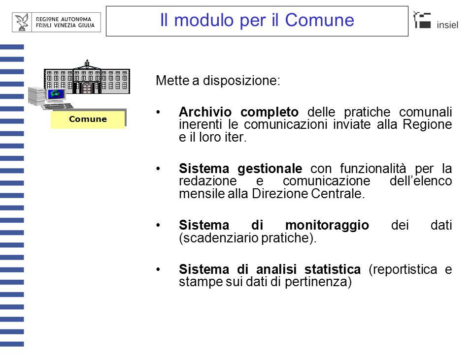 Il modulo per la Regione Mette a disposizione: Archivio centralizzato delle pratiche relative a tutti i Comuni della Regione.