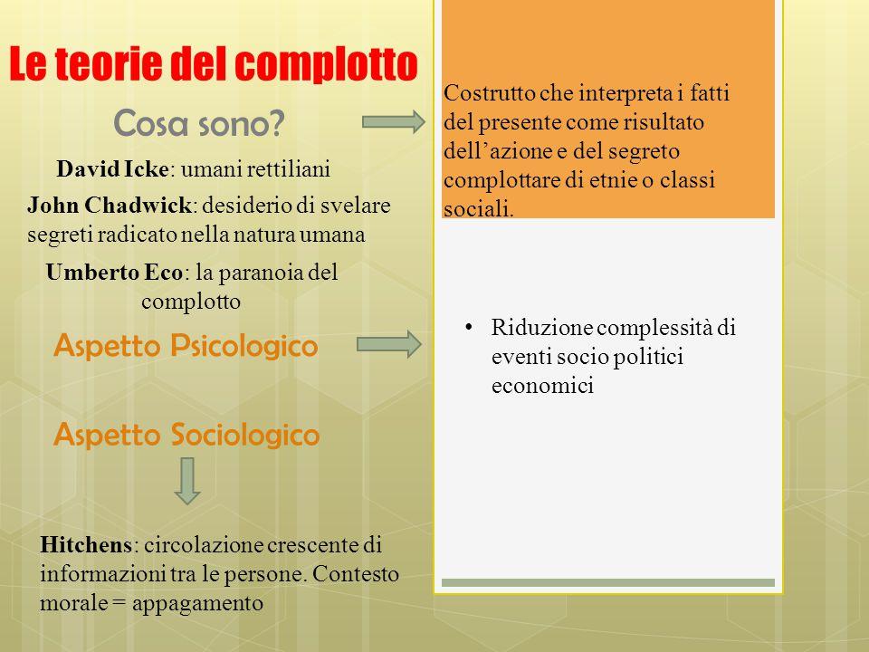 Le teorie del complotto Costrutto che interpreta i fatti del presente come risultato dell'azione e del segreto complottare di etnie o classi sociali.