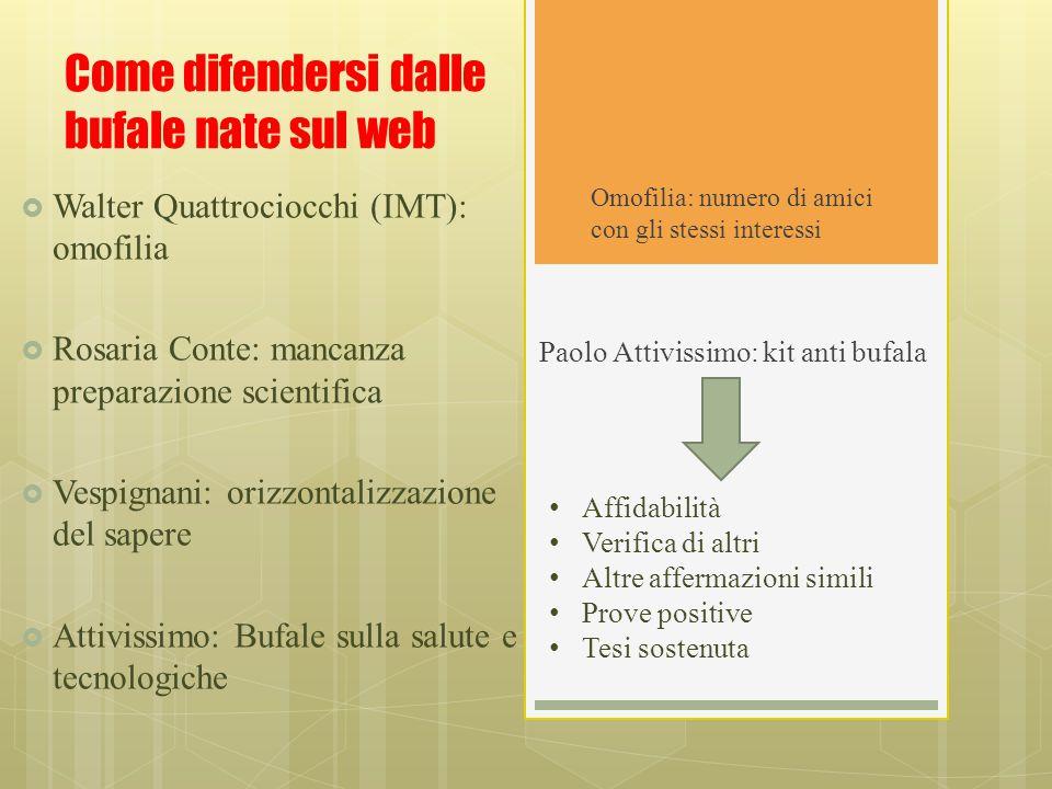 Come difendersi dalle bufale nate sul web Paolo Attivissimo: kit anti bufala  Walter Quattrociocchi (IMT): omofilia  Rosaria Conte: mancanza prepara
