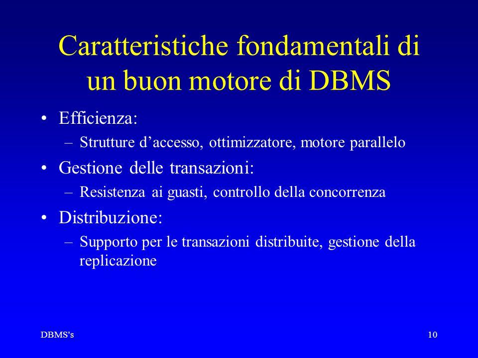 DBMS s10 Caratteristiche fondamentali di un buon motore di DBMS Efficienza: –Strutture d'accesso, ottimizzatore, motore parallelo Gestione delle transazioni: –Resistenza ai guasti, controllo della concorrenza Distribuzione: –Supporto per le transazioni distribuite, gestione della replicazione