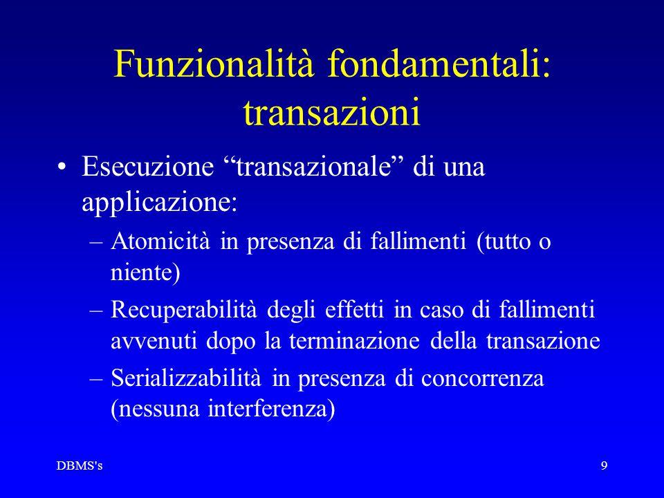 """DBMS's9 Funzionalità fondamentali: transazioni Esecuzione """"transazionale"""" di una applicazione: –Atomicità in presenza di fallimenti (tutto o niente) –"""