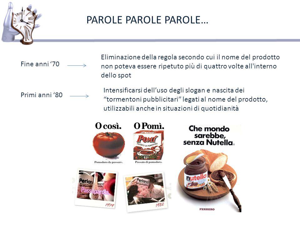2000 Unicom Gli italiani e la pubblicità PAROLE PAROLE PAROLE… il primo fattore facilitante il ricordo è la musica, con il 32,9% delle citazioni Jingle Vorrei cantare insieme a voi in magica armonia auguri Coca Cola e poi un coro in compagnia.