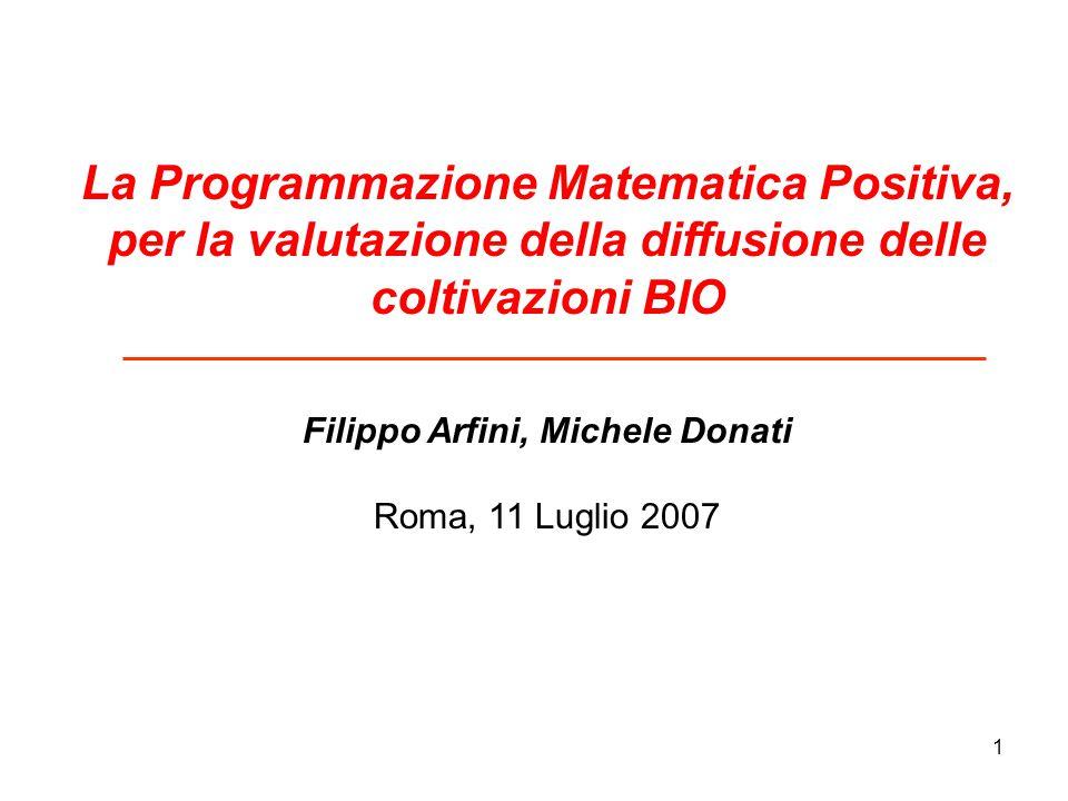1 La Programmazione Matematica Positiva, per la valutazione della diffusione delle coltivazioni BIO Filippo Arfini, Michele Donati Roma, 11 Luglio 2007