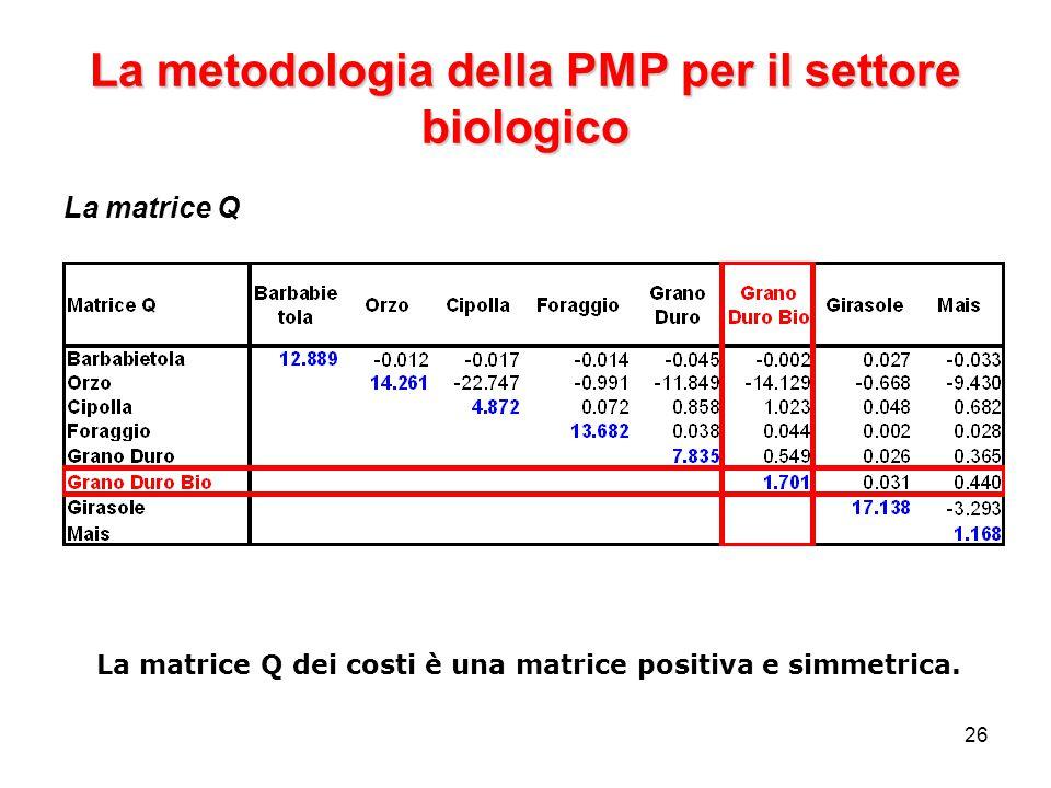 26 La metodologia della PMP per il settore biologico La matrice Q La matrice Q dei costi è una matrice positiva e simmetrica.