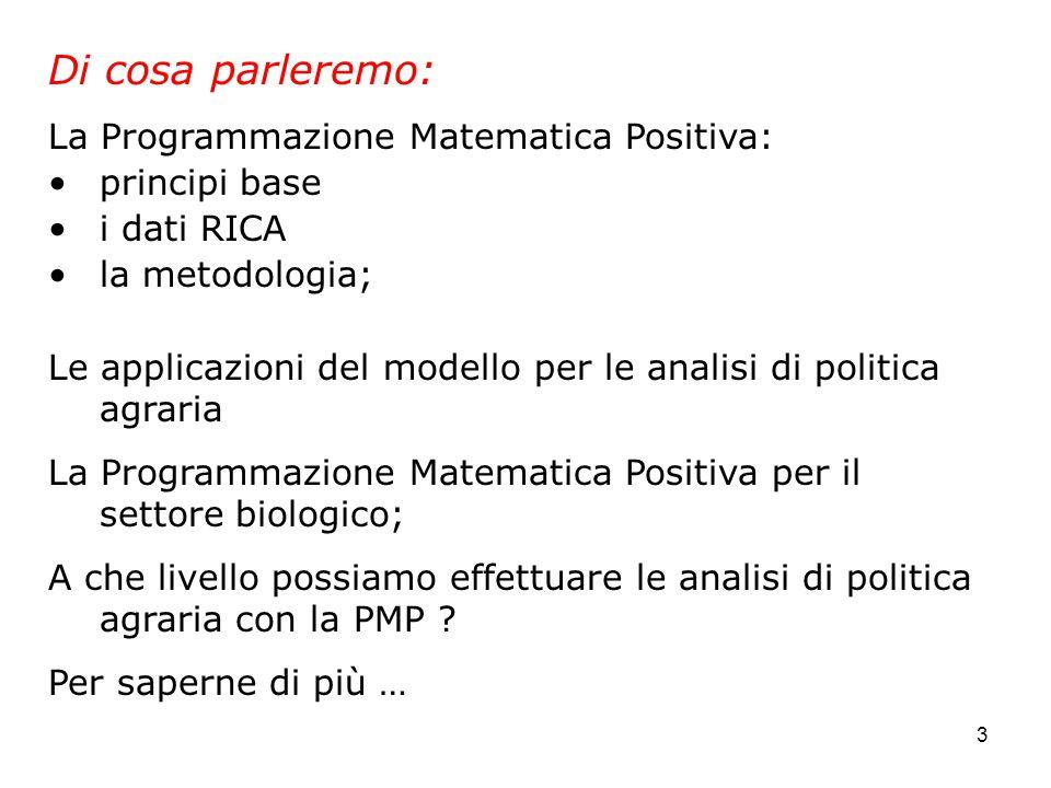 3 Di cosa parleremo: La Programmazione Matematica Positiva: principi base i dati RICA la metodologia; Le applicazioni del modello per le analisi di politica agraria La Programmazione Matematica Positiva per il settore biologico; A che livello possiamo effettuare le analisi di politica agraria con la PMP .