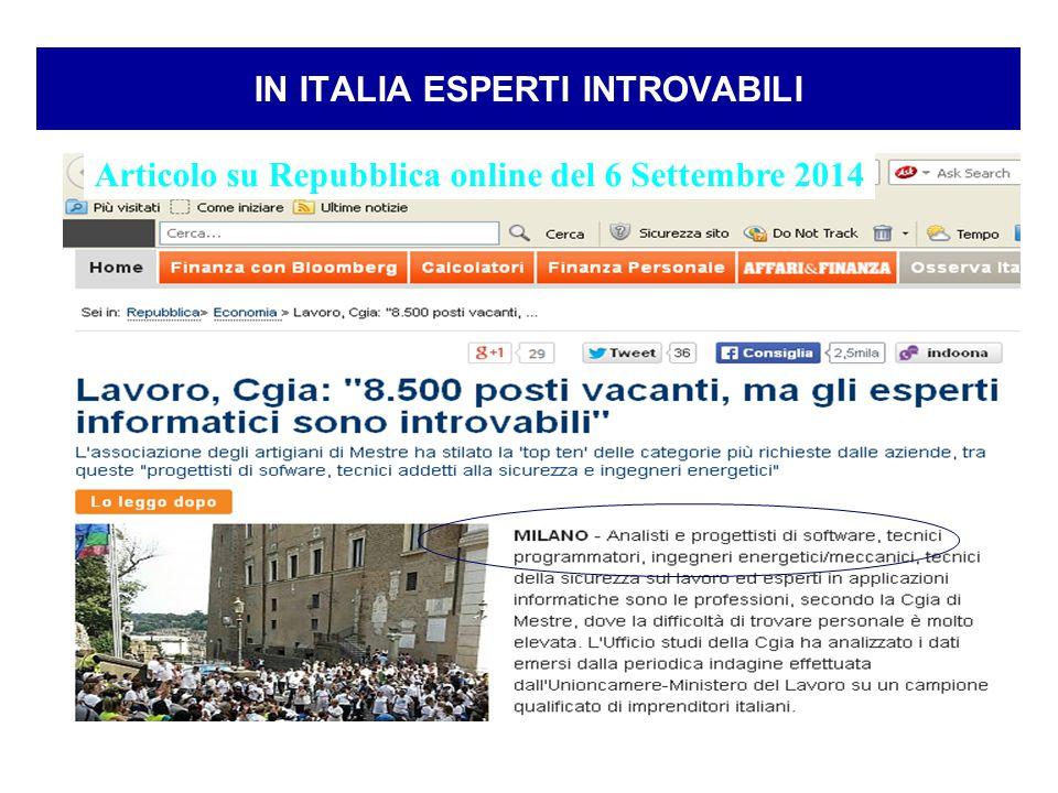 3 IN ITALIA ESPERTI INTROVABILI Articolo su Repubblica online del 6 Settembre 2014