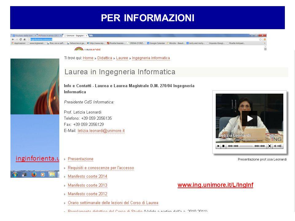 4 PER INFORMAZIONI inginforienta.unimore.it www.ing.unimore.it/L/IngInf