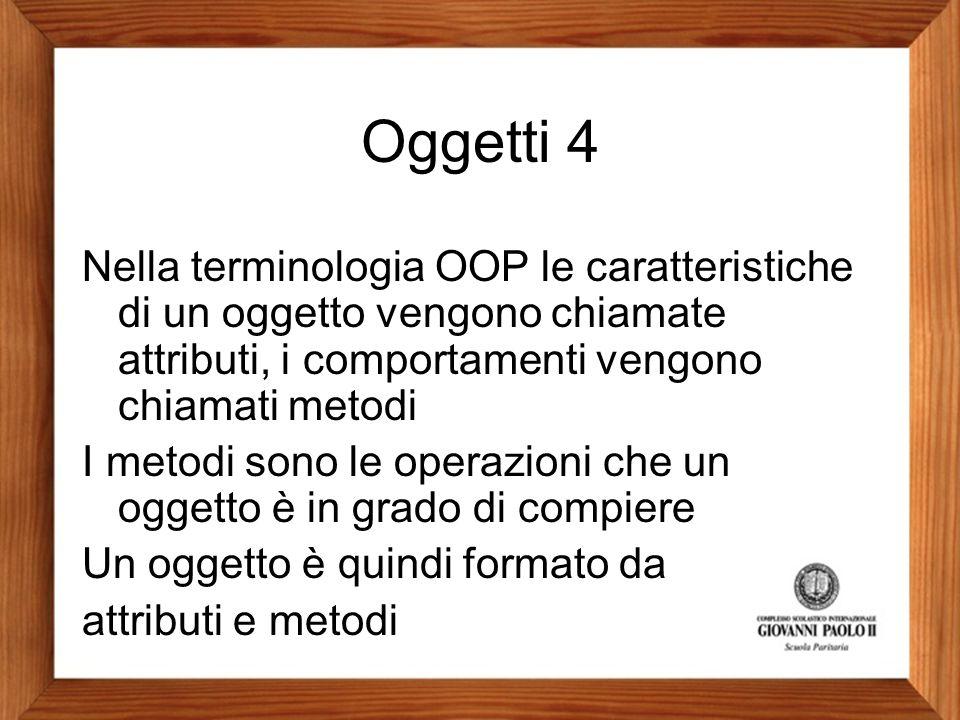 Oggetti 4 Nella terminologia OOP le caratteristiche di un oggetto vengono chiamate attributi, i comportamenti vengono chiamati metodi I metodi sono le