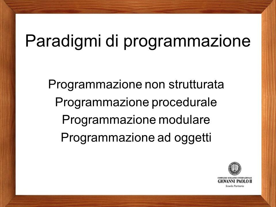 Programmazione non strutturata Programmazione procedurale Programmazione modulare Programmazione ad oggetti Paradigmi di programmazione