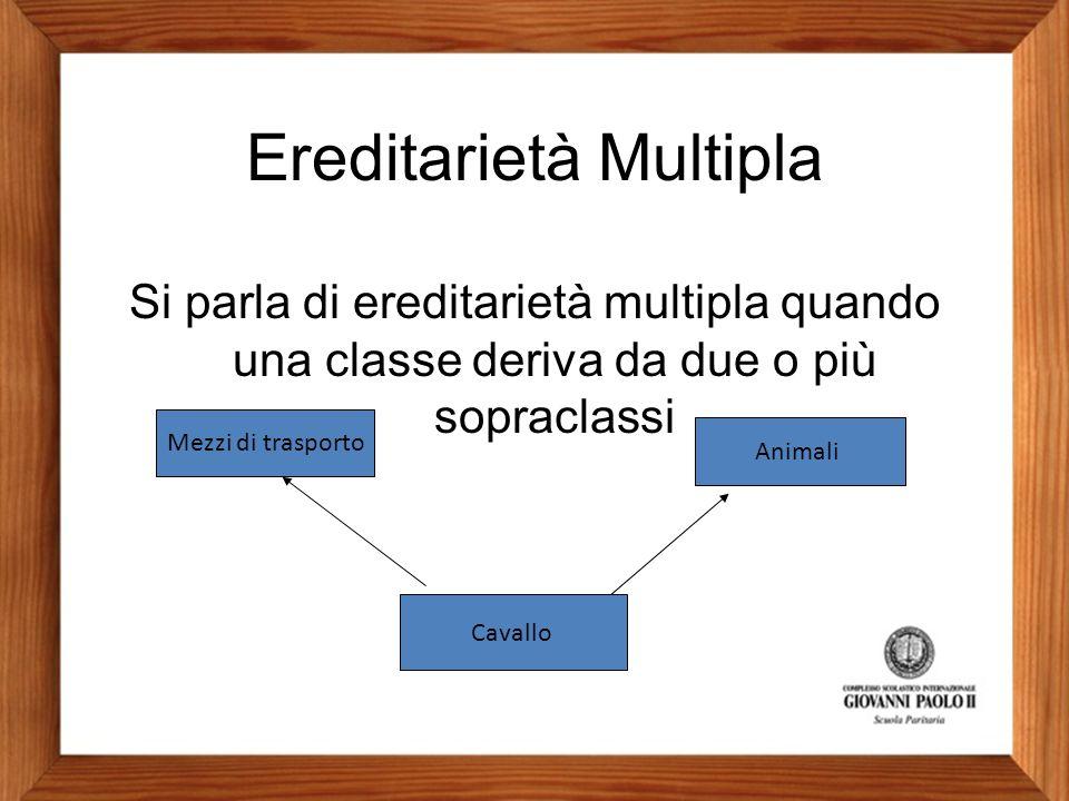 Ereditarietà Multipla Si parla di ereditarietà multipla quando una classe deriva da due o più sopraclassi Mezzi di trasporto Animali Cavallo