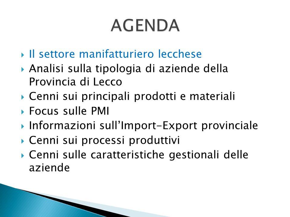 La provincia di Lecco - una realtà manifatturiera con caratteristiche particolari A Lecco, il contributo alla creazione di ricchezza da parte del settore secondario (Industria) è superiore alla media regionale e a quella nazionale.