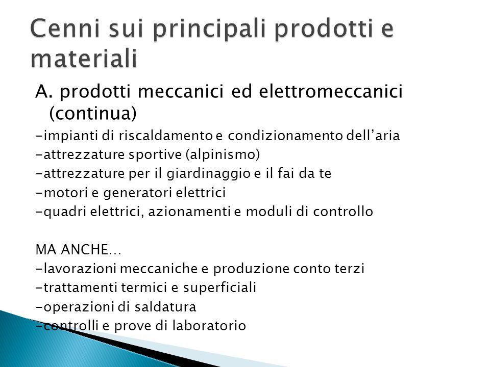 A. prodotti meccanici ed elettromeccanici (continua) -impianti di riscaldamento e condizionamento dell'aria -attrezzature sportive (alpinismo) -attrez