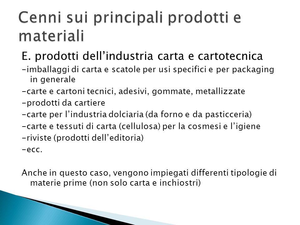 E. prodotti dell'industria carta e cartotecnica -imballaggi di carta e scatole per usi specifici e per packaging in generale -carte e cartoni tecnici,