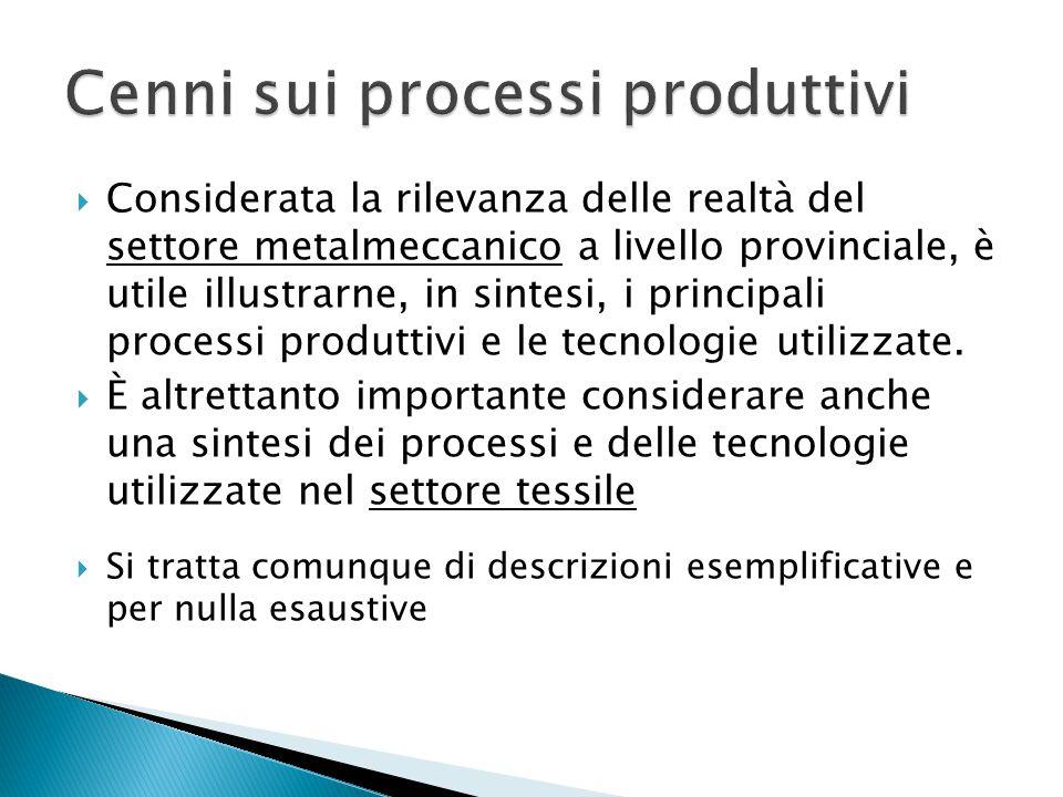  Considerata la rilevanza delle realtà del settore metalmeccanico a livello provinciale, è utile illustrarne, in sintesi, i principali processi produttivi e le tecnologie utilizzate.