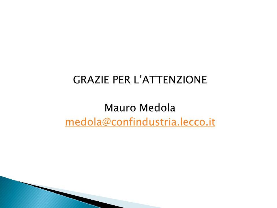 GRAZIE PER L'ATTENZIONE Mauro Medola medola@confindustria.lecco.it