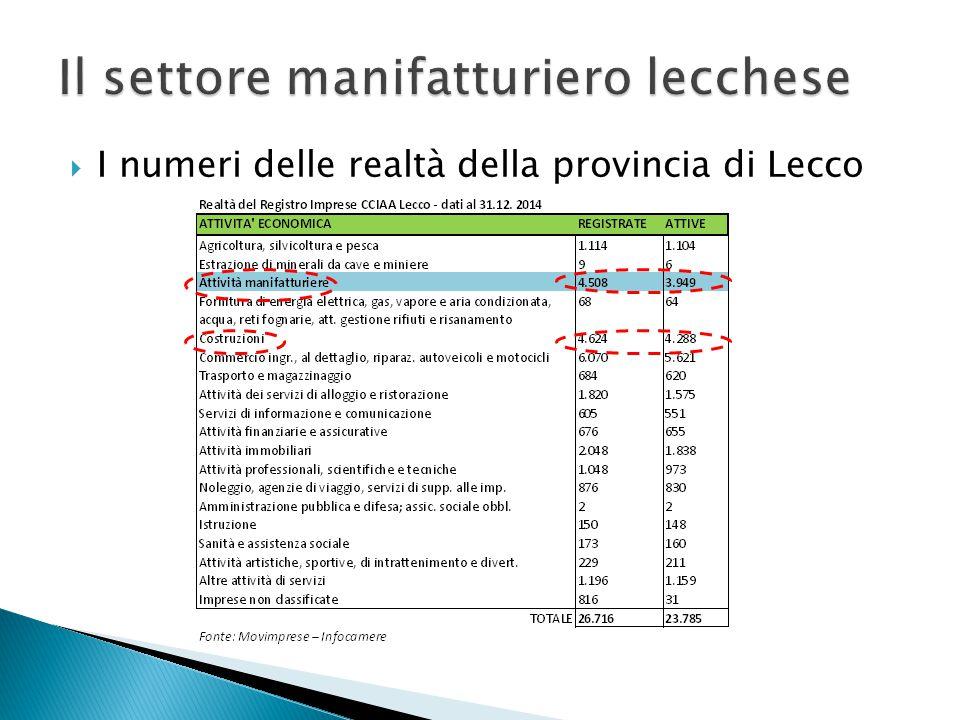  Il settore manifatturiero lecchese  Analisi sulla tipologia di aziende della Provincia di Lecco  Cenni sui principali prodotti e materiali  Focus sulle PMI  Informazioni sull'Import-Export provinciale  Cenni sui processi produttivi  Cenni sulle caratteristiche gestionali delle aziende