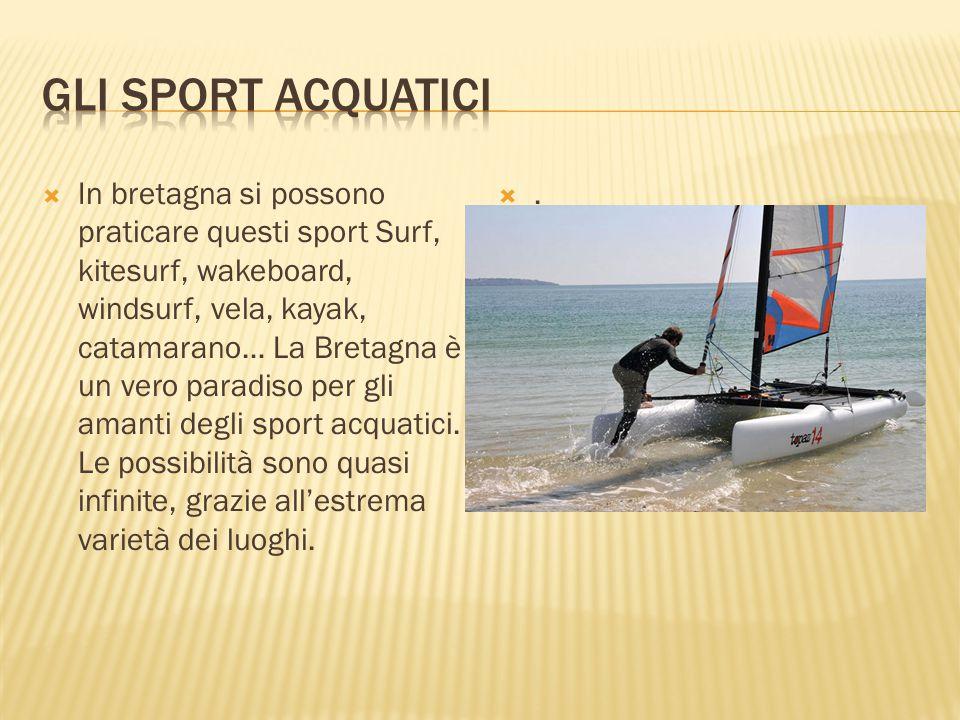  In bretagna si possono praticare questi sport Surf, kitesurf, wakeboard, windsurf, vela, kayak, catamarano… La Bretagna è un vero paradiso per gli a