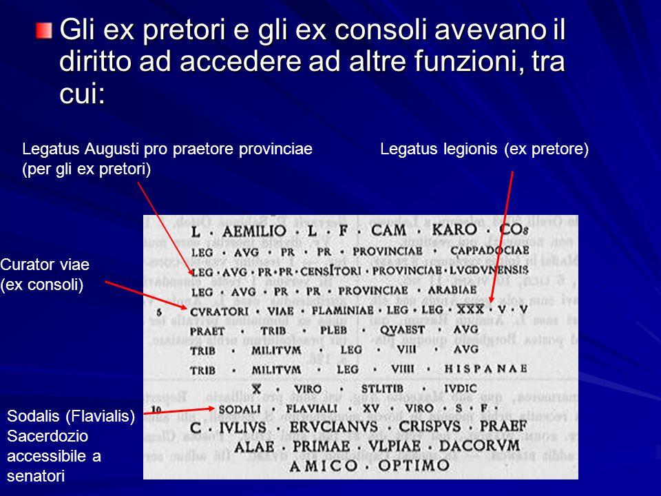 Gli ex pretori e gli ex consoli avevano il diritto ad accedere ad altre funzioni, tra cui: Legatus Augusti pro praetore provinciae (per gli ex pretori