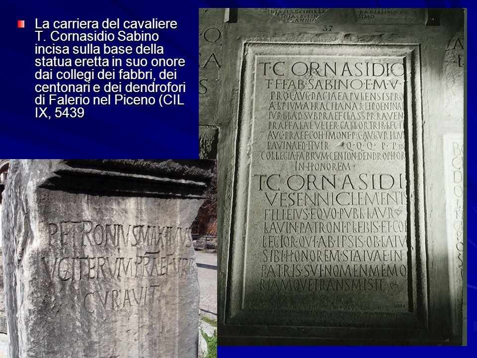 La carriera del cavaliere T. Cornasidio Sabino incisa sulla base della statua eretta in suo onore dai collegi dei fabbri, dei centonari e dei dendrofo
