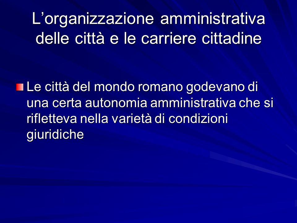 L'organizzazione amministrativa delle città e le carriere cittadine Le città del mondo romano godevano di una certa autonomia amministrativa che si ri