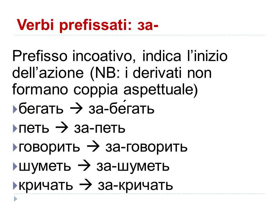 Verbi prefissati: за- Prefisso incoativo, indica l'inizio dell'azione (NB: i derivati non formano coppia aspettuale )  бегать  за-бе́гать  петь  з