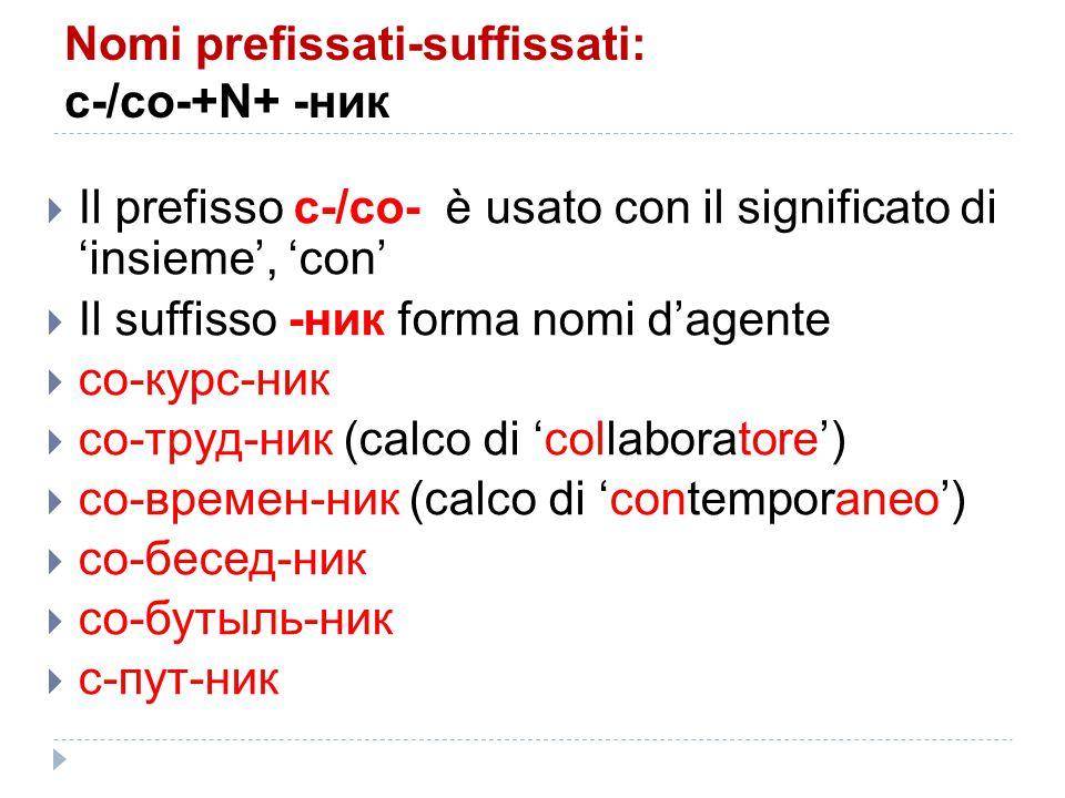 Nomi prefissati-suffissati: с-/со-+N+ -ник  Il prefisso с-/со- è usato con il significato di 'insieme', 'con'  Il suffisso -ник forma nomi d'agente