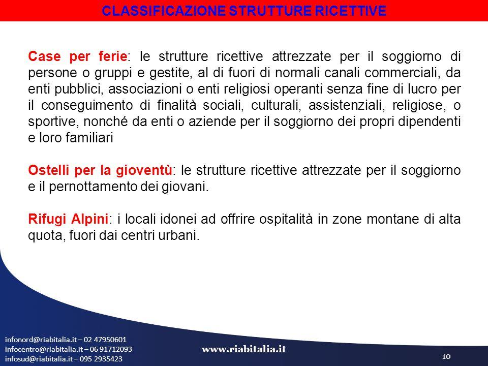 infonord@riabitalia.it – 02 47950601 infocentro@riabitalia.it – 06 91712093 infosud@riabitalia.it – 095 2935423 www.riabitalia.it 10 Case per ferie: l