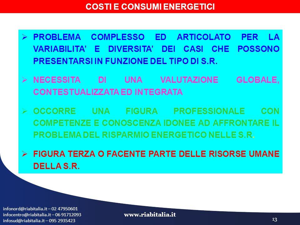 infonord@riabitalia.it – 02 47950601 infocentro@riabitalia.it – 06 91712093 infosud@riabitalia.it – 095 2935423 www.riabitalia.it 13  PROBLEMA COMPLESSO ED ARTICOLATO PER LA VARIABILITA' E DIVERSITA' DEI CASI CHE POSSONO PRESENTARSI IN FUNZIONE DEL TIPO DI S.R.