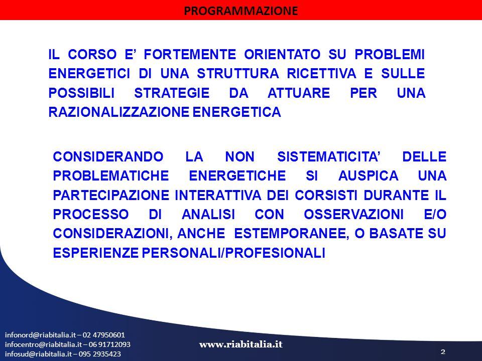 infonord@riabitalia.it – 02 47950601 infocentro@riabitalia.it – 06 91712093 infosud@riabitalia.it – 095 2935423 www.riabitalia.it 2 PROGRAMMAZIONE IL CORSO E' FORTEMENTE ORIENTATO SU PROBLEMI ENERGETICI DI UNA STRUTTURA RICETTIVA E SULLE POSSIBILI STRATEGIE DA ATTUARE PER UNA RAZIONALIZZAZIONE ENERGETICA CONSIDERANDO LA NON SISTEMATICITA' DELLE PROBLEMATICHE ENERGETICHE SI AUSPICA UNA PARTECIPAZIONE INTERATTIVA DEI CORSISTI DURANTE IL PROCESSO DI ANALISI CON OSSERVAZIONI E/O CONSIDERAZIONI, ANCHE ESTEMPORANEE, O BASATE SU ESPERIENZE PERSONALI/PROFESIONALI