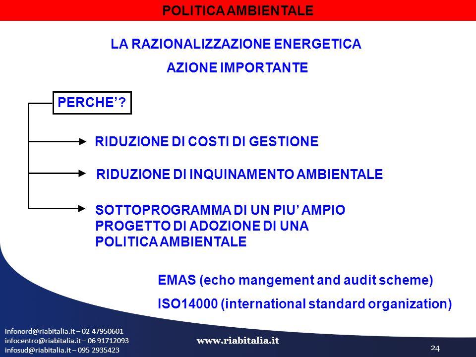 infonord@riabitalia.it – 02 47950601 infocentro@riabitalia.it – 06 91712093 infosud@riabitalia.it – 095 2935423 www.riabitalia.it 24 POLITICA AMBIENTALE LA RAZIONALIZZAZIONE ENERGETICA AZIONE IMPORTANTE PERCHE'.
