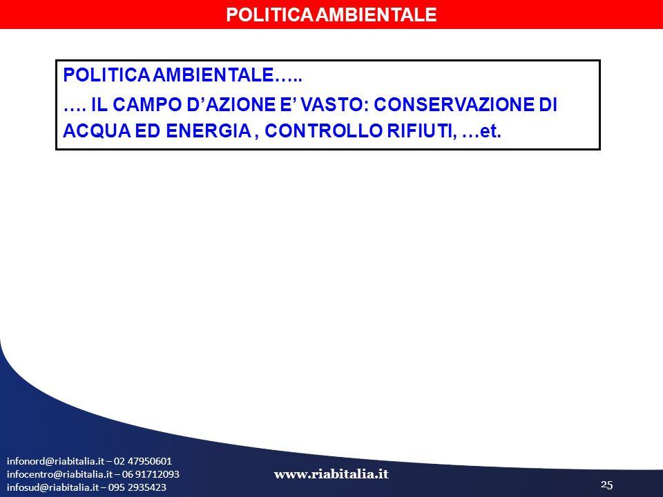infonord@riabitalia.it – 02 47950601 infocentro@riabitalia.it – 06 91712093 infosud@riabitalia.it – 095 2935423 www.riabitalia.it 25 POLITICA AMBIENTA