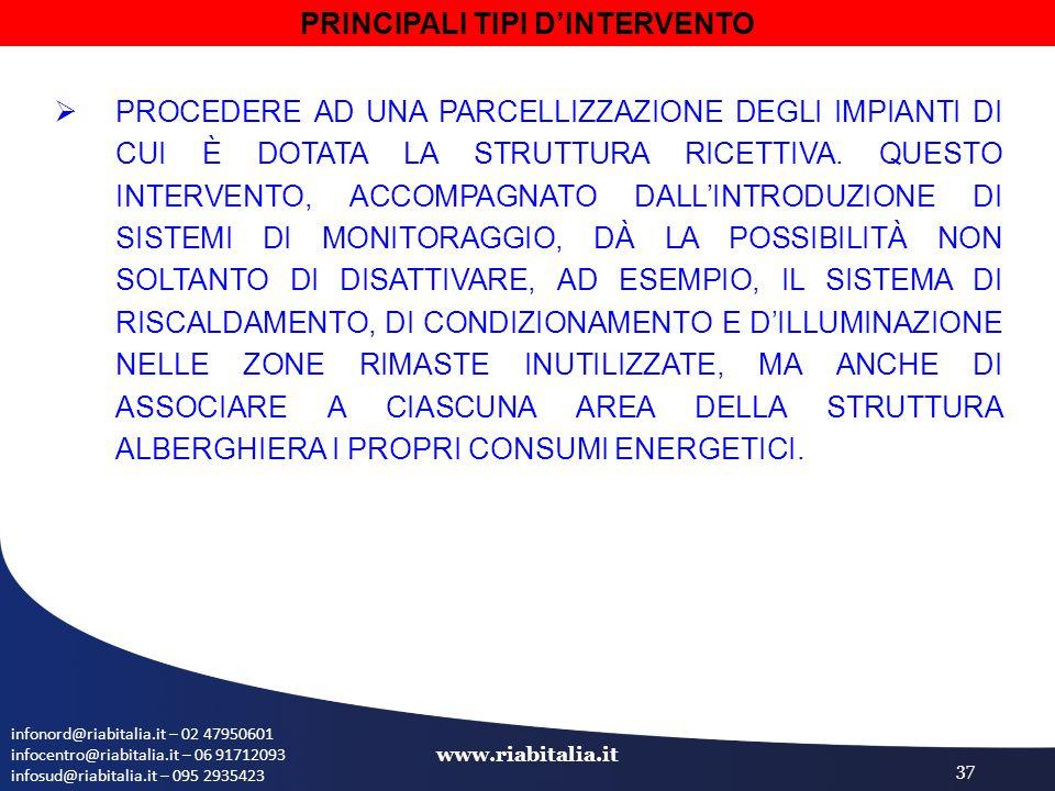 infonord@riabitalia.it – 02 47950601 infocentro@riabitalia.it – 06 91712093 infosud@riabitalia.it – 095 2935423 www.riabitalia.it 37  PROCEDERE AD UNA PARCELLIZZAZIONE DEGLI IMPIANTI DI CUI È DOTATA LA STRUTTURA RICETTIVA.