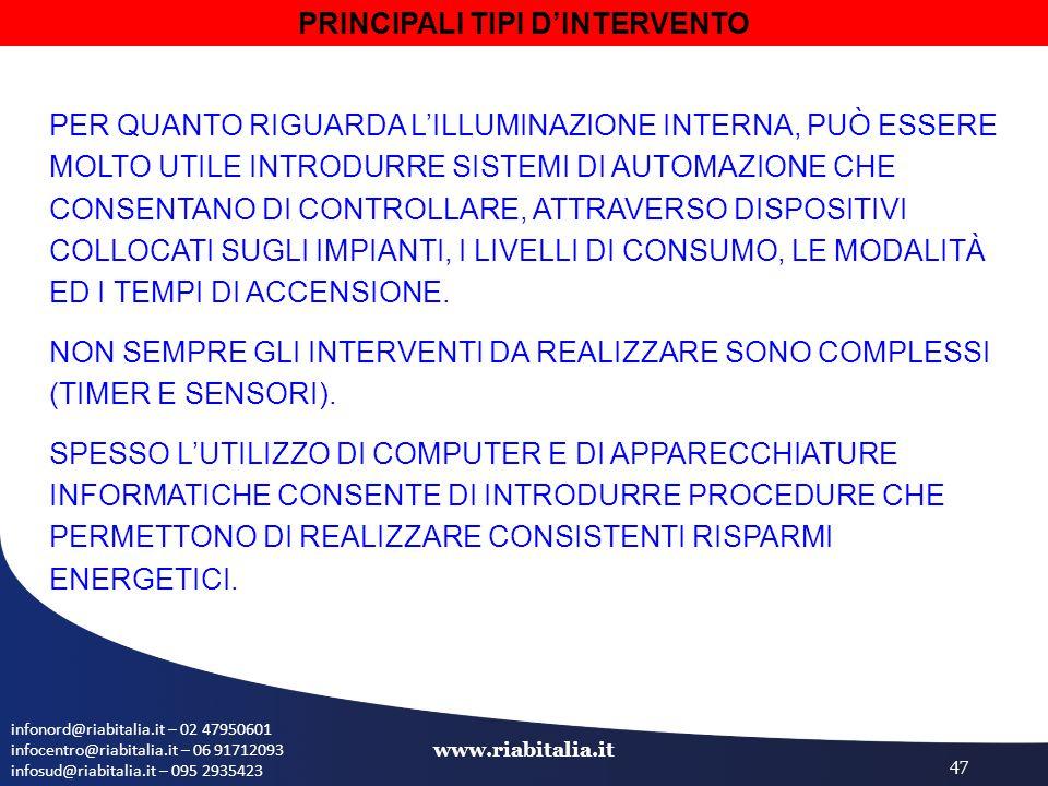 infonord@riabitalia.it – 02 47950601 infocentro@riabitalia.it – 06 91712093 infosud@riabitalia.it – 095 2935423 www.riabitalia.it 47 PER QUANTO RIGUARDA L'ILLUMINAZIONE INTERNA, PUÒ ESSERE MOLTO UTILE INTRODURRE SISTEMI DI AUTOMAZIONE CHE CONSENTANO DI CONTROLLARE, ATTRAVERSO DISPOSITIVI COLLOCATI SUGLI IMPIANTI, I LIVELLI DI CONSUMO, LE MODALITÀ ED I TEMPI DI ACCENSIONE.