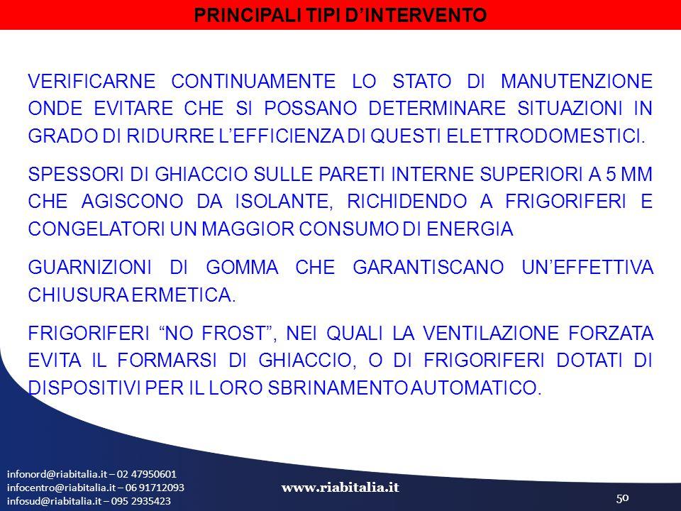 infonord@riabitalia.it – 02 47950601 infocentro@riabitalia.it – 06 91712093 infosud@riabitalia.it – 095 2935423 www.riabitalia.it 50 VERIFICARNE CONTINUAMENTE LO STATO DI MANUTENZIONE ONDE EVITARE CHE SI POSSANO DETERMINARE SITUAZIONI IN GRADO DI RIDURRE L'EFFICIENZA DI QUESTI ELETTRODOMESTICI.