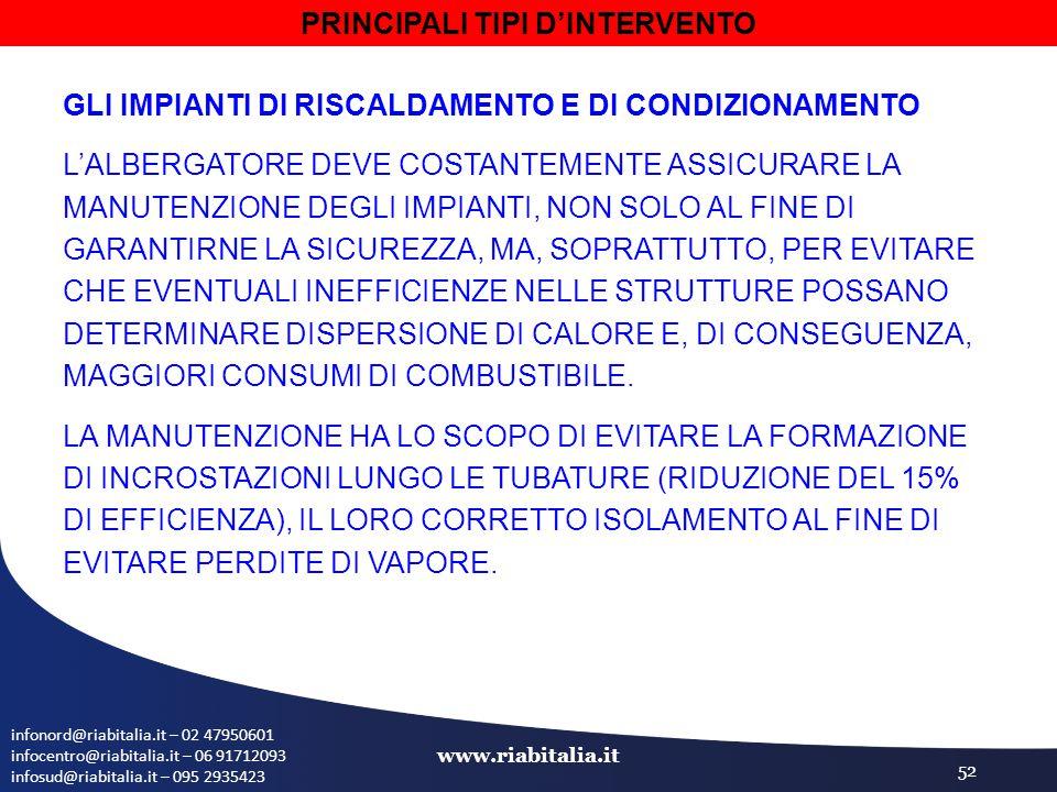 infonord@riabitalia.it – 02 47950601 infocentro@riabitalia.it – 06 91712093 infosud@riabitalia.it – 095 2935423 www.riabitalia.it 52 GLI IMPIANTI DI RISCALDAMENTO E DI CONDIZIONAMENTO L'ALBERGATORE DEVE COSTANTEMENTE ASSICURARE LA MANUTENZIONE DEGLI IMPIANTI, NON SOLO AL FINE DI GARANTIRNE LA SICUREZZA, MA, SOPRATTUTTO, PER EVITARE CHE EVENTUALI INEFFICIENZE NELLE STRUTTURE POSSANO DETERMINARE DISPERSIONE DI CALORE E, DI CONSEGUENZA, MAGGIORI CONSUMI DI COMBUSTIBILE.
