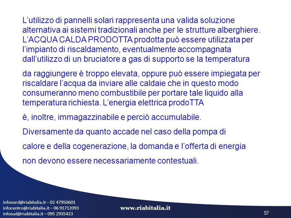 infonord@riabitalia.it – 02 47950601 infocentro@riabitalia.it – 06 91712093 infosud@riabitalia.it – 095 2935423 www.riabitalia.it 57 L'utilizzo di pannelli solari rappresenta una valida soluzione alternativa ai sistemi tradizionali anche per le strutture alberghiere.