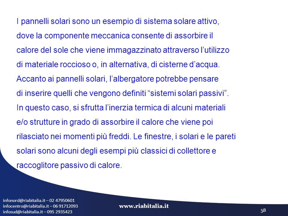infonord@riabitalia.it – 02 47950601 infocentro@riabitalia.it – 06 91712093 infosud@riabitalia.it – 095 2935423 www.riabitalia.it 58 I pannelli solari